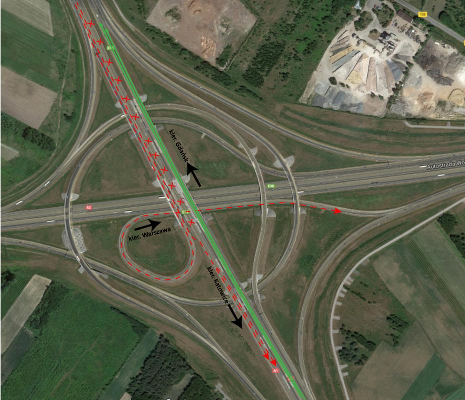 Ułatwiają przejazd przez węzeł Łódź Północ łączący A1 zA2